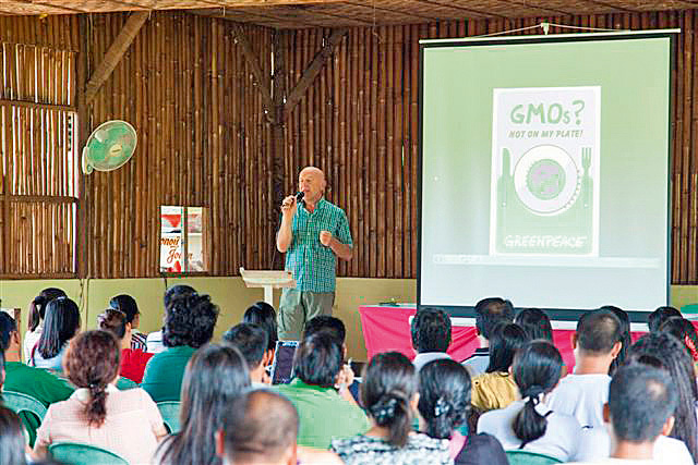 Joseph Wilhelm gives teachers a lecture on the risks and dangers of GMO